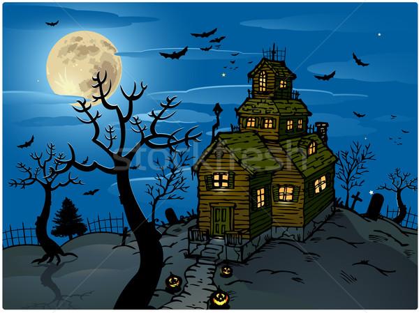 Halloween fa fény háló éjszaka koponya Stock fotó © hugolacasse