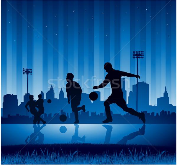 Miejskich piłka nożna projektu miasta niebieski zabawy Zdjęcia stock © hugolacasse