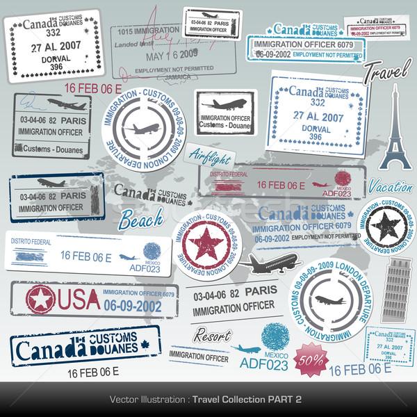 Stock fotó: útlevél · bélyegek · utazás · ikonok · szabad · vásár