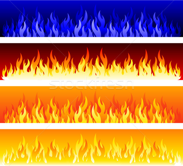 Ognia płomienie symbol zestaw pomarańczowy moc Zdjęcia stock © hugolacasse
