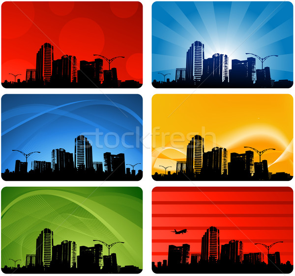 Stadsgezichten silhouetten gebouw zonsondergang achtergrond stedelijke Stockfoto © hugolacasse