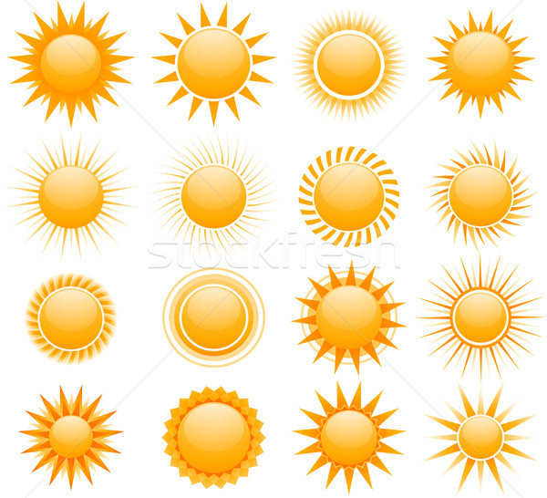 suns icons collection Stock photo © hugolacasse