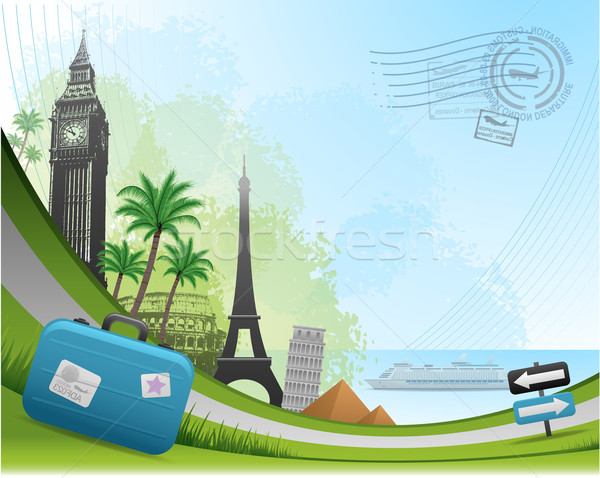 Postal card travel background Stock photo © hugolacasse