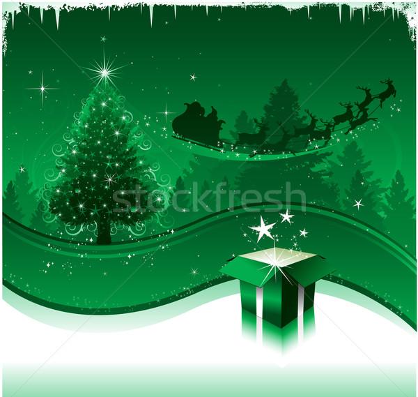 Christmas kartkę z życzeniami projektu domu drzewo strony Zdjęcia stock © hugolacasse
