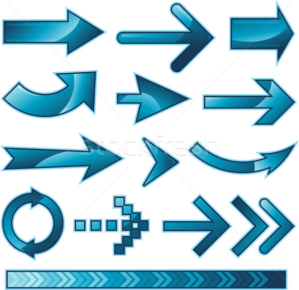 Blue arrow sign design collection set Stock photo © hugolacasse
