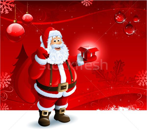 Święty mikołaj szkatułce czerwony christmas ozdoba Zdjęcia stock © hugolacasse
