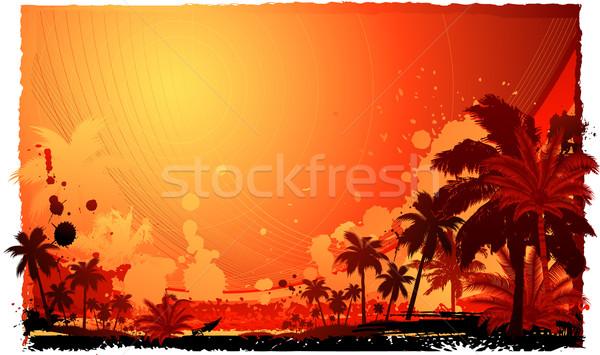 ストックフォト: 熱帯 · 花 · 海 · 背景 · 夏 · 手のひら
