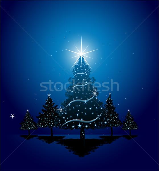 Weihnachten Grußkarte Design Haus Baum Party Stock foto © hugolacasse
