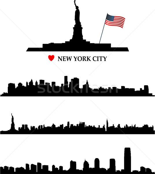 Nowy Jork Cityscape niebieski malarstwo czarny sylwetka Zdjęcia stock © hugolacasse