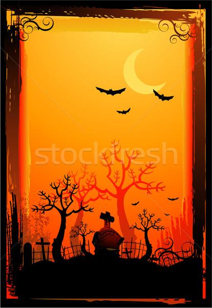 Halloween illustratie hemel huis hand film Stockfoto © hugolacasse