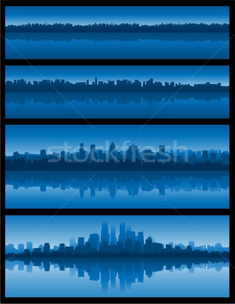 Stad landschap reflectie water gebouw achtergrond Stockfoto © hugolacasse