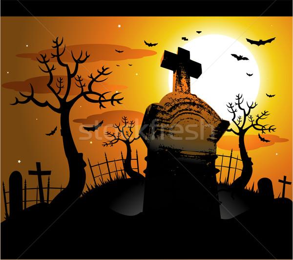 Halloween ilustracja niebo domu strony film Zdjęcia stock © hugolacasse