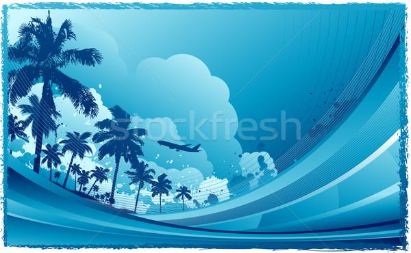 Tropicali fiore mare sfondo estate Palm Foto d'archivio © hugolacasse