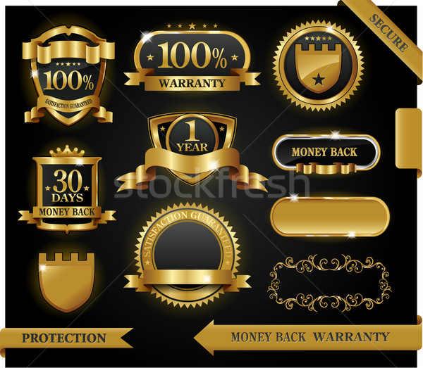 Vector 100% satisfaction guaranteed label and protection sign Stock photo © hugolacasse