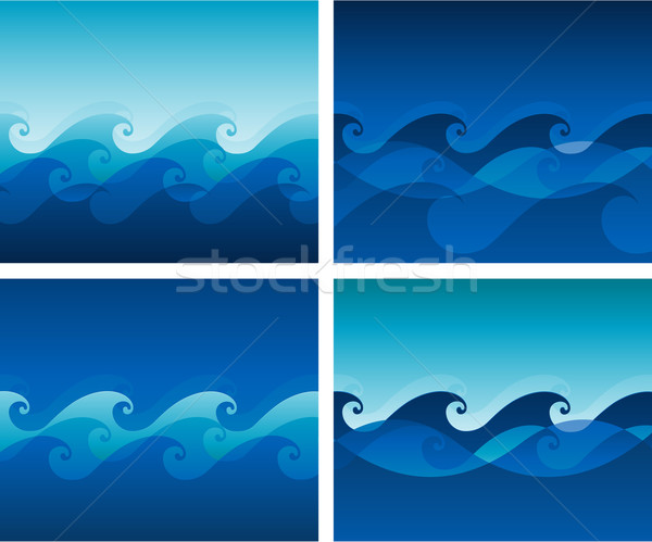 Bezszwowy wzór fali ramki niebieski fali żeglarstwo Zdjęcia stock © hugolacasse