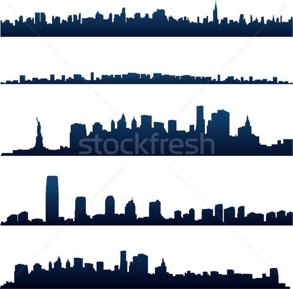 Cityscape silhouette bâtiment ville maison Photo stock © hugolacasse