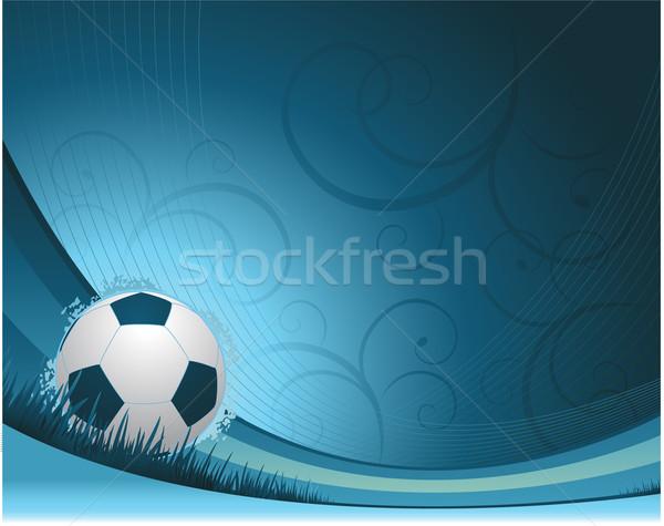 ストックフォト: 青 · サッカー · サッカーボール · 草 · デザイン · 緑