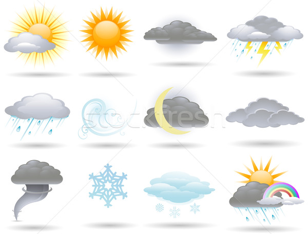 Vector weather icons collection Stock photo © hugolacasse