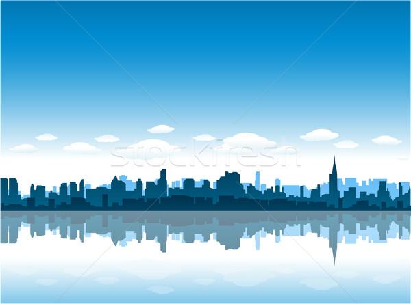 Nowy Jork Cityscape miasta panoramę malarstwo czarny Zdjęcia stock © hugolacasse