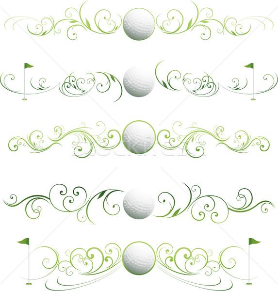 ストックフォト: ゴルフ · フローラル · バナー · スクロール · 飾り