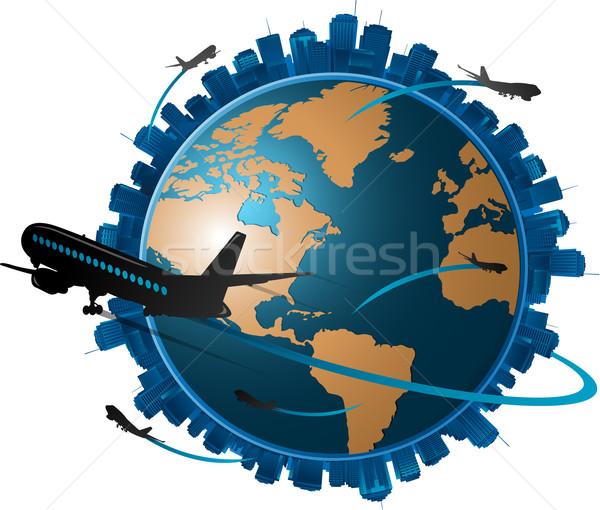 Samolot około świecie podróży świat Zdjęcia stock © hugolacasse