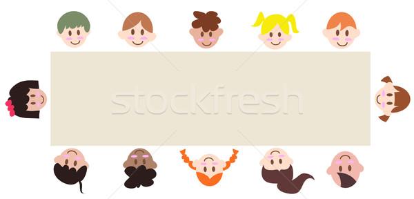 Multicultural crianças em torno de bandeira branco gráfico Foto stock © huhulin