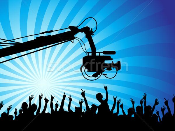 Stockfoto: Tv · camera · menigte · gelukkig · film · lichaam