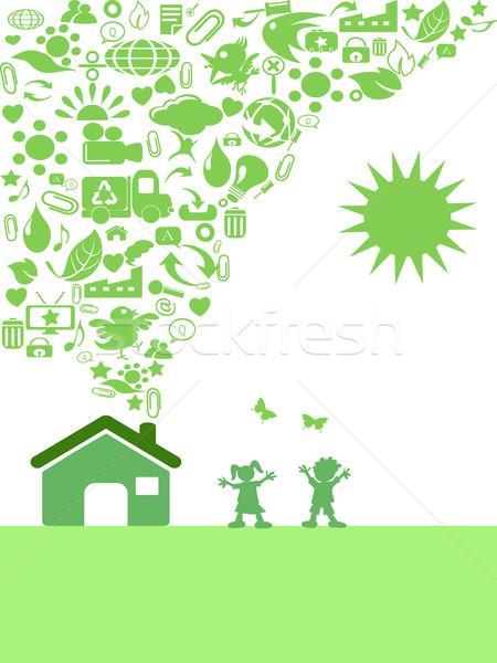 Photo stock: Vert · eco · icône · maison · enfants · soleil