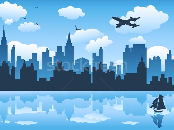 Cidade blue sky reflexão água edifício construção Foto stock © huhulin