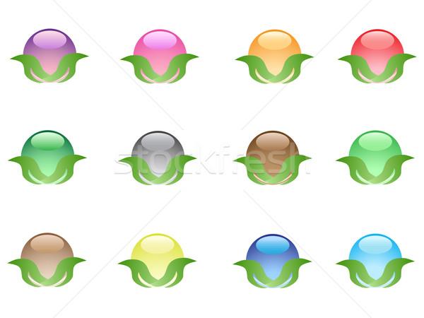 Renkli yaprak düğmeler web tasarım ışık dizayn Stok fotoğraf © huhulin