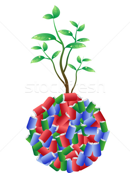 Stock photo: green plant growing from recycling aluminum cans