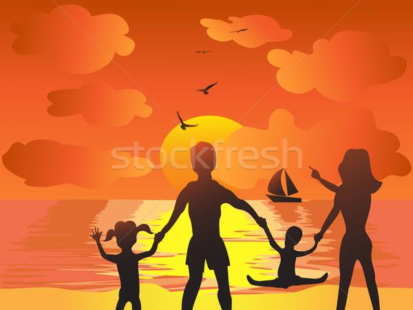 Foto stock: Família · pôr · do · sol · praia · mulheres · sol · criança