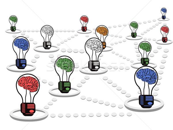 Beyin ampul net çalışmak grup ampuller Stok fotoğraf © huhulin