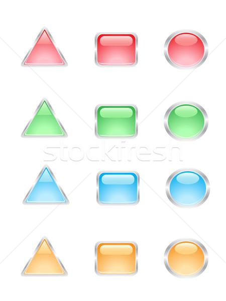 Foto stock: Brilhante · botões · web · design · internet · projeto