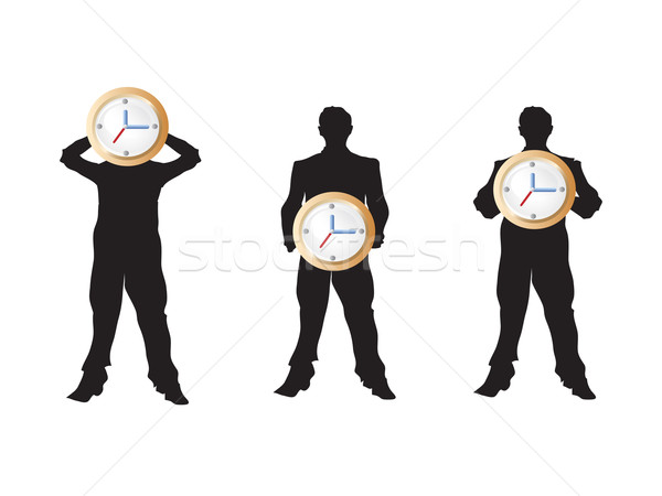 3 businessman holding the clock Stock photo © huhulin