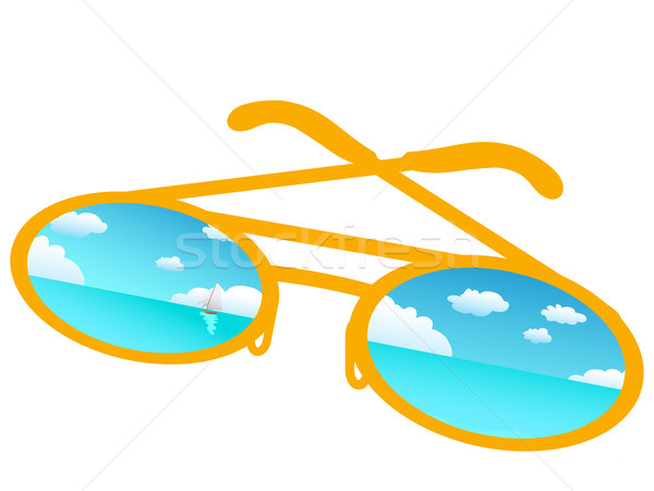 Blue sky reflecting in sunglasses  Stock photo © huhulin