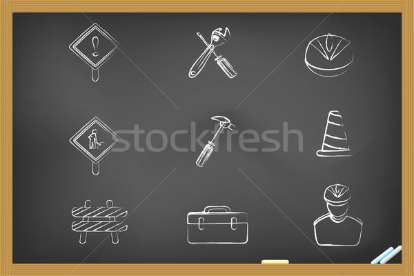Construction icons drew on blackboard Stock photo © huhulin