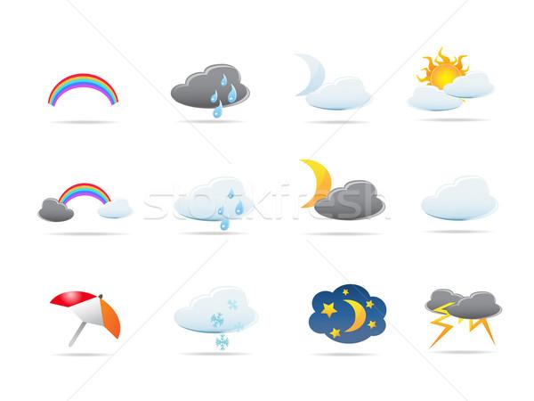 Időjárás ikon szett terv tavasz internet nap Stock fotó © huhulin