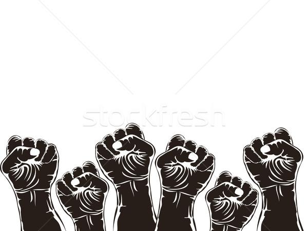 Yumruk devrim bo üzerinde beyaz el Stok fotoğraf © huhulin