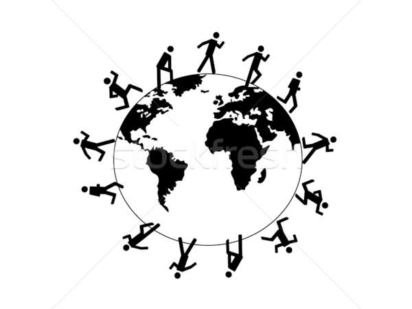 Zdjęcia stock: Symbol · ludzi · uruchomiony · około · świat · Pokaż