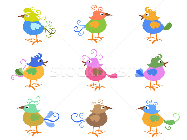 colorful cartoon birds Stock photo © huhulin