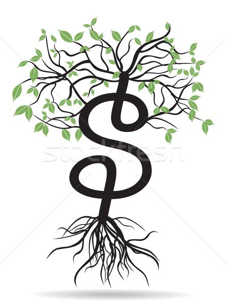 Foto stock: Dinheiro · dólares · crescente · assinar · árvore · abstrato