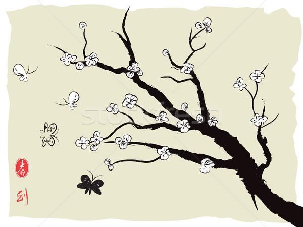 Chinese schilderij voorjaar pruim bloesem bloem Stockfoto © huhulin