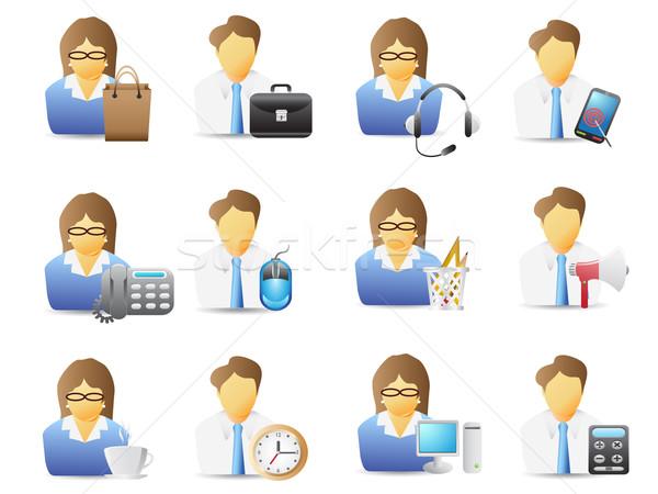 ícones trabalhadores de escritório escritório ferramentas negócio computador Foto stock © huhulin