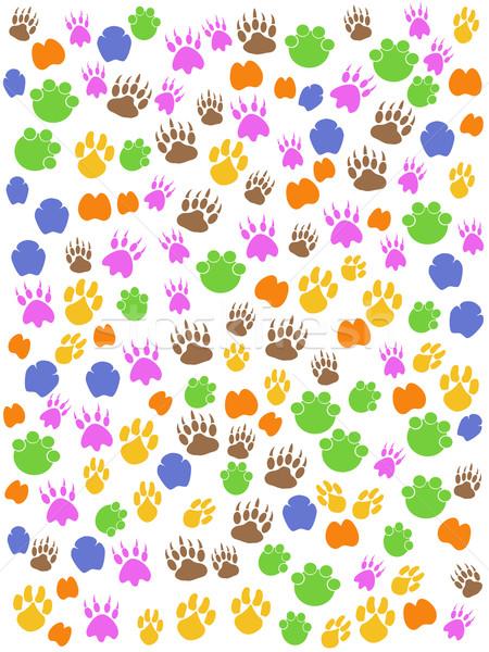 colorful seamless animals footprint Stock photo © huhulin