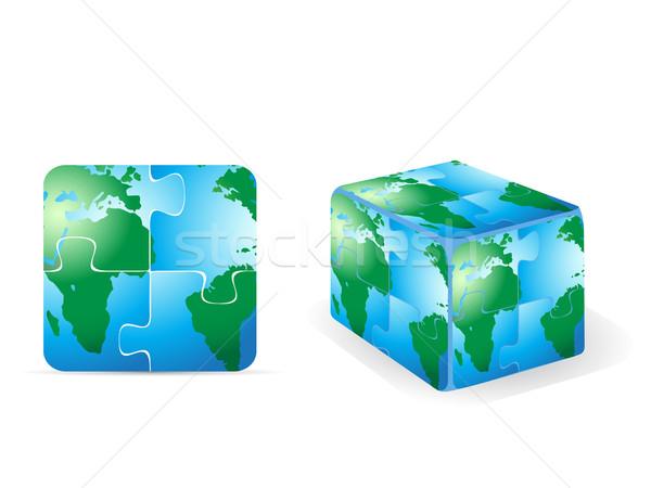 Praça quebra-cabeça terra água globo mapa Foto stock © huhulin