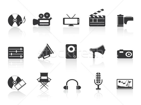 Stockfoto: Zwarte · multimedia · tools · icon · ontwerp · teken
