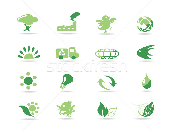 Simple verde eco iconos diseno web flores Foto stock © huhulin