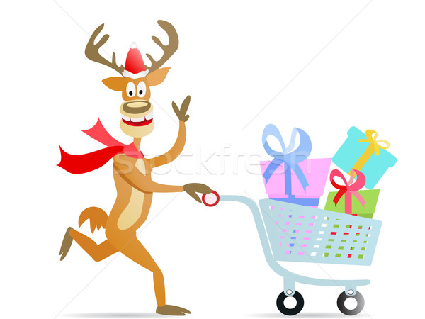 running shopping christmas reindeer Stock photo © huhulin