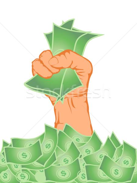 Mão dinheiro banco desenho animado Foto stock © huhulin